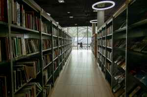 aisle at a library